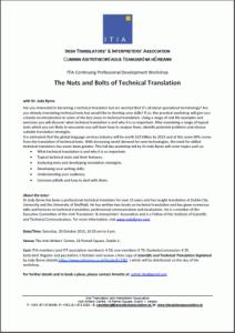 ITIA Technical Translation Workshop Flyer