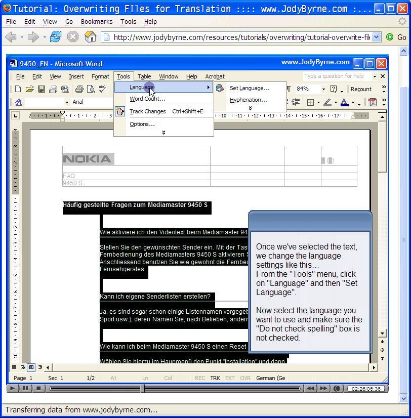 Figure 2: Sample of an online tutorial